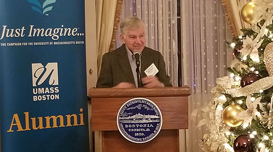 Michael Dukakis Joins Alumni for Annual Holiday Celebration